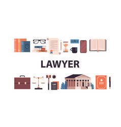 law and justice set gavel judge books scales vector image