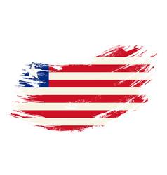 liberian flag grunge brush background vector image