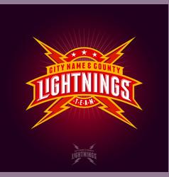 Lightning team logo ribbons letters rays stars vector