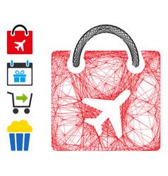 Linear duty free bag mesh vector