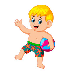 Little boy with beach ball enjoying his vacation vector