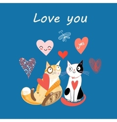 Love cats and heart vector