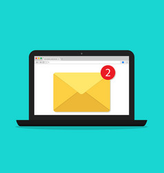 mail in computer email window in laptop screen vector image