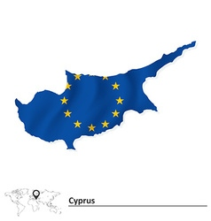 Map of Cyprus with European Union flag vector image