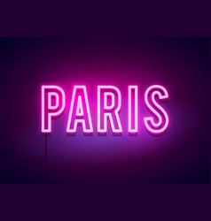 modern paris city neon light sign vector image
