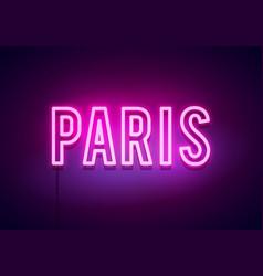 modern paris city neon light sign vector image