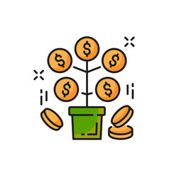 Money tree with golden coins isolated line icon vector