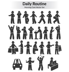 Monochrome doodle daily routine set vector