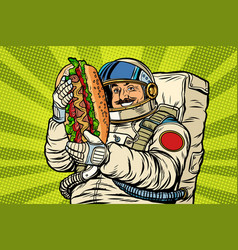 Moustached astronaut with a hotdog vector