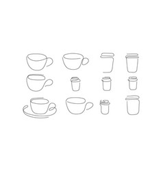 One line art style cup coffee abstract food vector