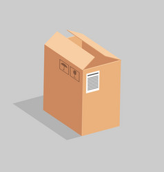 Open high cardboard box with stickers vector