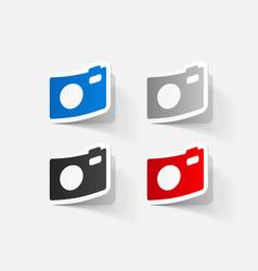 Paper clipped sticker digital compact photo camera vector