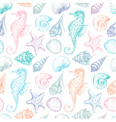 Pattern with a sea creatures vector