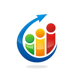 People finance graph arrow logo vector