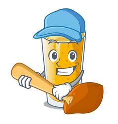 Playing baseball lassi mango in a cartoon glass vector