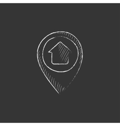 Pointer with house inside Drawn in chalk icon vector