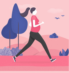 pregnant woman running healthy pregnancy concept vector image