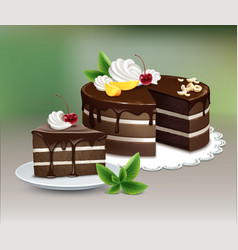 Puff chocolate cake vector