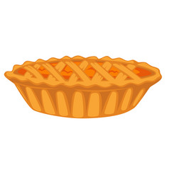 pumpkin open top pie isolated dish vegetable vector image