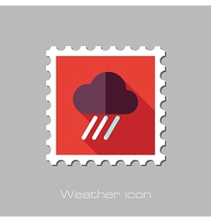 Rain Cloud flat stamp Downpour rainfall Weather vector