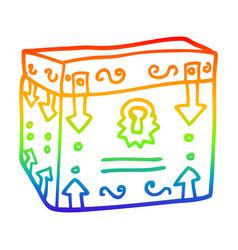 rainbow gradient line drawing cartoon treasure vector image