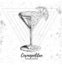 realistic and polygonal cocktail cosmopolitan vector image
