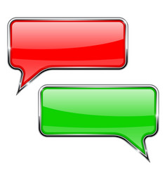red and green speech bubbles rectangular 3d icons vector image