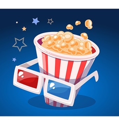 red and white bucket with popcorn and cin vector image