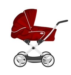 Red child pram baby carriage or stroller vector