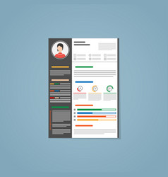 Resume with black strip vector