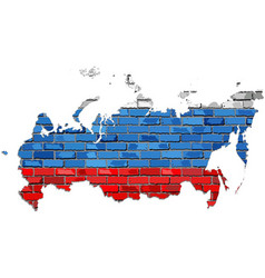 russia map on a brick wall vector image