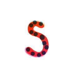 S letter logo handwritten with a red felt-tip pen vector