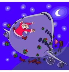 Santa Claus sledge crash vector image