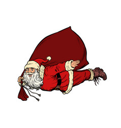 santa claus superhero is flying with a bag vector image