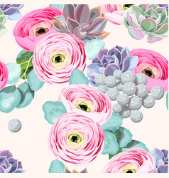Seamless flowers and succulents vector