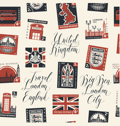 Seamless pattern on uk theme with postage stamps vector