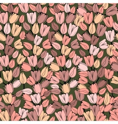 Seamless pattern with retro tulips vector