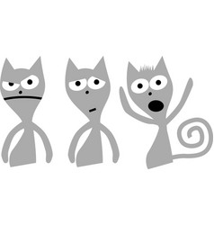 Set cute cat character with various emotions vector