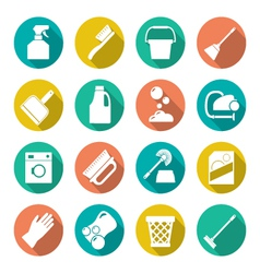 Set flat icons of cleaning vector image