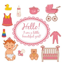 Set icons of cute baby girl vector