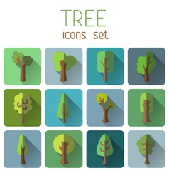 Set of 12 square tree icons with long flat shadow vector image
