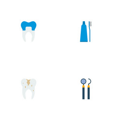 set of dental icons flat style symbols with caries vector image