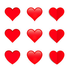 set of different style hearts vector image