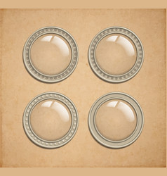 Set of glass transparent button in metal frame vector