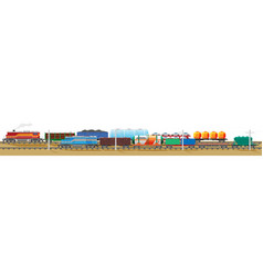 set of train cargo wagons cisterns tanks and cars vector image