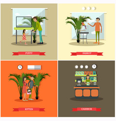 set pet store posters in flat style vector image