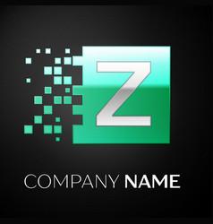 silver letter z logo symbol in the green square vector image