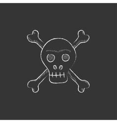 Skull and cross bones Drawn in chalk icon vector