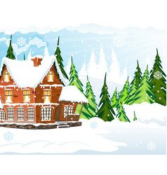 snow covered cottage vector image