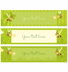 Spring vintage banners with bees vector